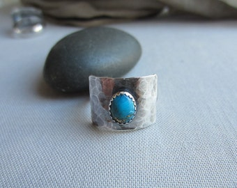 Turquoise Ring/ Turquoise/ Silver Ring With Turquoise/ Turquoise bezel Ring/ Metalsmith ring/ Oxidized Silver Ring/