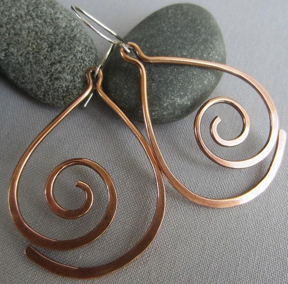 Gypsy hoop earrings Handmade in VT Patina Dangle Earrings Copper Earrings Hammered Copper Rustic Safari VT jewelry Niobium Wires