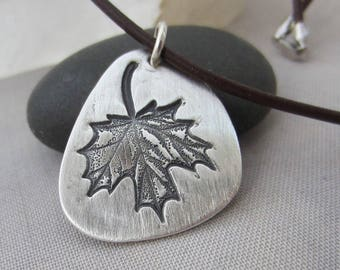 Leaf Necklace/ Silver leaf necklace/ Leather necklace w. Silver leaf/ Fine Silver PMC pendant / Maple leaf pendant/ Oxidized silver pendant