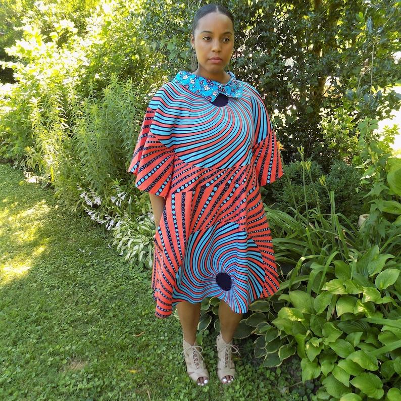 Women/'s Dress Wax Print Dress SOLENE African Print Dress