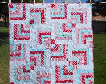 Baby Quilt--Red/Pink/Aqua Log Cabin