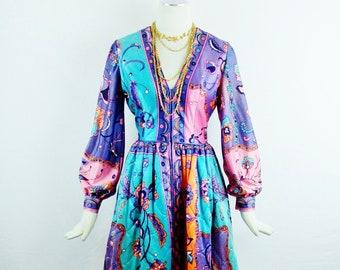 BILL TICE  HOSTESS Dress Coat Mod Print Regal Design and Look Housecoat Design Size Med