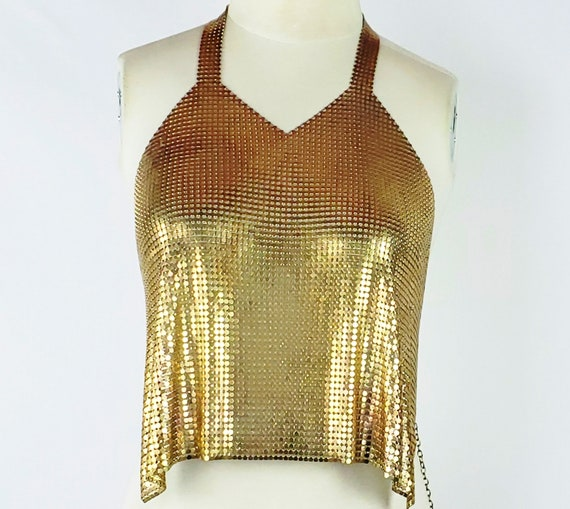 80s Gold METAL MESH CHAINMAIL Halter Top Designer