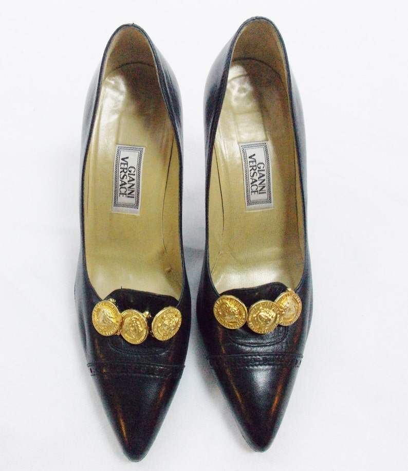 db0e15f6 Vintage GIANNI VERSACE BLACK Leather Heels with Worker Tread Soles and  Removabel Medusa Face Pins Iconic Size 7 -37