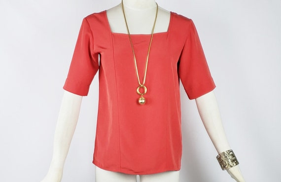 Yves Saint Laurent Sz 36 Red Orange Blouse Square