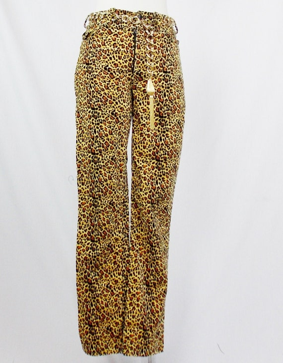 BETSEY JOHNSON LEOPARD Skinny Pants Small Velvet C