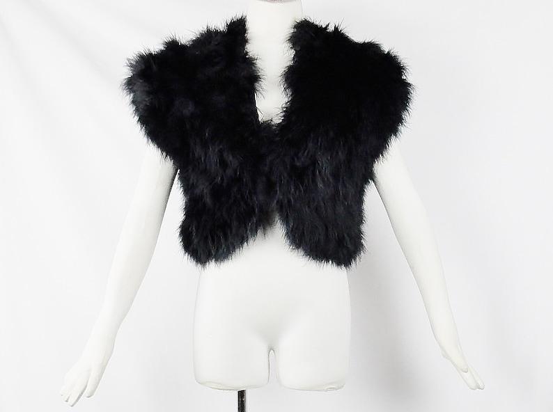 27ae8a1e148 GIANFRANCO FERRE OSTRICH Feathers Black Jacket Shrugh   Etsy