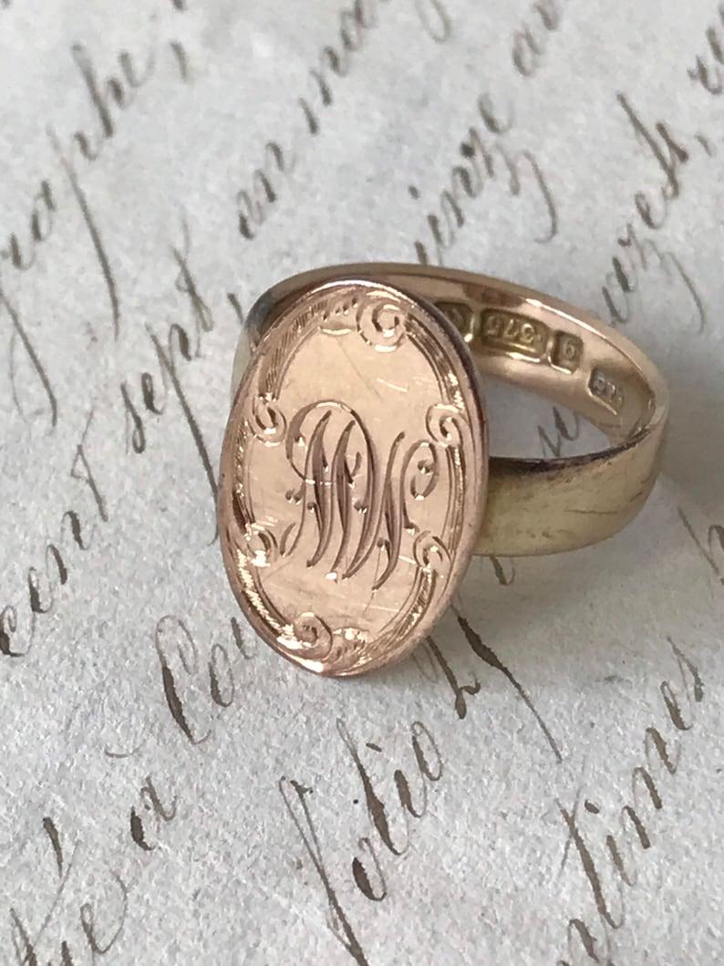 Antique Rose Gold Signet Ring image 0
