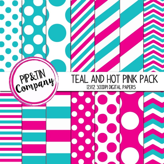 Teal And Hot Pink Digital Paper Pack Scrapbook Paper Pink Etsy
