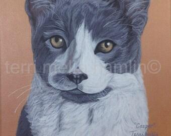 CustomCat Portrait, 8x10 Pet Portrait, Custom Pet Portrait, Painted Pet Portraits, Cat Portrait Custom, Acrylic Painted Portrait