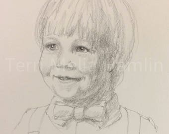 CustomPortrait of a Child , Mothers Day Gift, Drawing of a Little Boy , Custom Portrait of a Child , Hand Drawn Portrait Drawing of a Child
