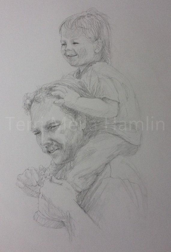 single dad dad with children custom portrait Custom dad and kid DIGITAL portrait custom father/'s day illustration