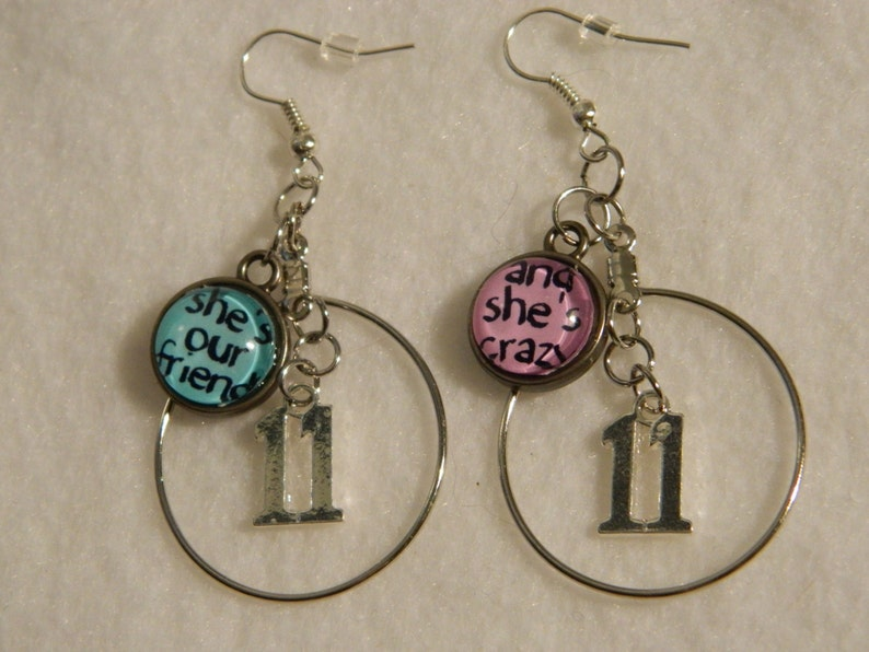 Stranger Things Eleven Earrings Silver Hoops Jewelry Number 11  e7d06133f
