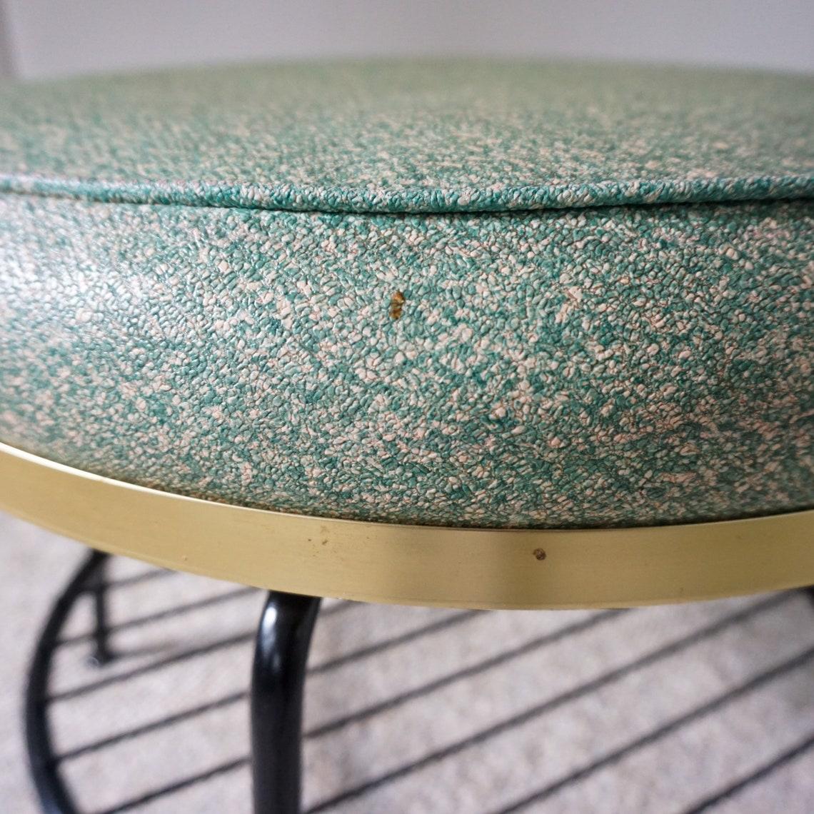 Mid Century Round Swivel Footstool with Storage Shelf