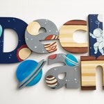 Solar System Letters  Space Decor Baby Boy Nursery / Planets Nursery Wall Art / Baby Gift / Custom Letters for Nurseries / Nursery Art