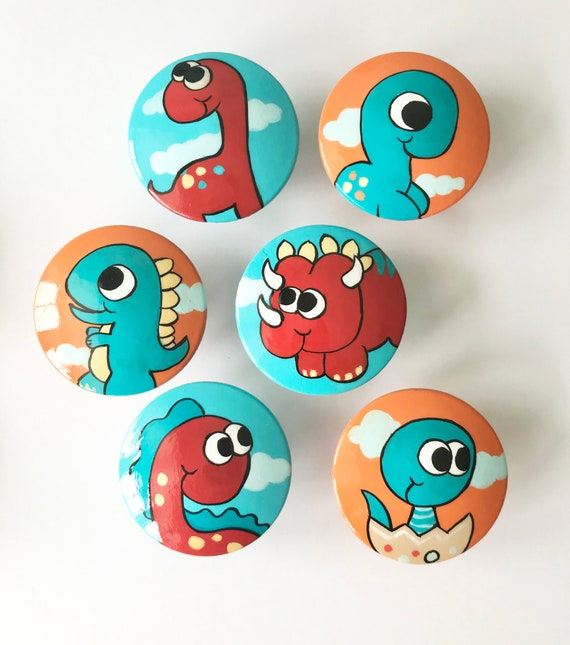 Dinosaur Wood Knobs No VOC Paint No VOC Clear Coat Gloss Furniture Handle Nursery Kids Bedroom Hand Painted Pull Baby Shower Size 1.5