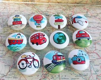 Vintage Travel knobs (LRG) Landmark Art - Travel Decor - Travel Nursery Baby Shower Gifts Baby Room Decor Travel Art Travel Nursery Decor