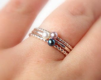 Mini Floating Freshwater Pearl Ring – 925 Sterling Silver Stacking Ring– 3mm White, Pink, or Black Pearl– Hammered, Beaded, or Rope Band