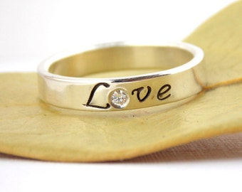 Diamond or Birthstone Love Ring: Sterling Silver