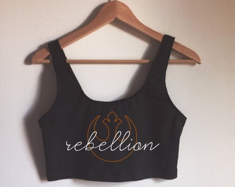 Rebellion Spandex Crop Tank by So Effing Cute - Made in USA - inspired by Star Wars