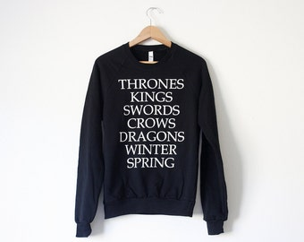 Ice and Fire Novel Sweatshirt - inspired by Game of Thrones - by So Effing Cute