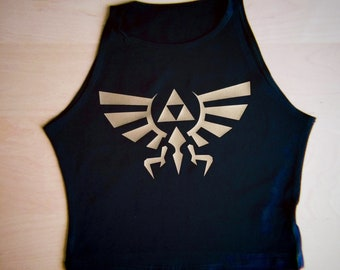 Zelda Hyrule Crest High Neck Spandex Crop Top by So Effing Cute - Size Small