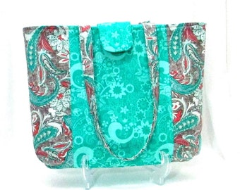Paisley Shoulder Bag, Turquoise Fabric Tote Bag, Handmade Purse,  Gray, Orange, Cloth Bag, Lined with Pockets