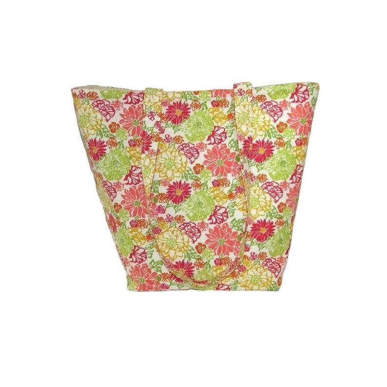 Floral Tote Bag Cloth Purse Handmade Handbag Beige Green image 0