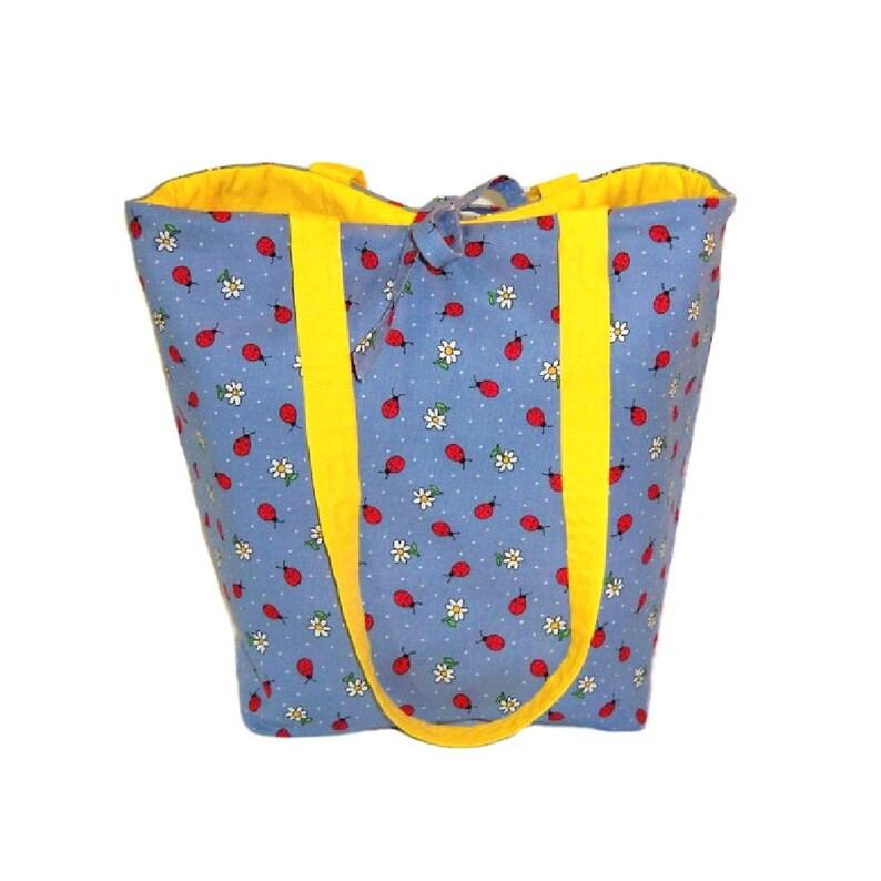 Ladybug Tote Bag Blue Cloth Purse Handmade Handbag Polka image 0