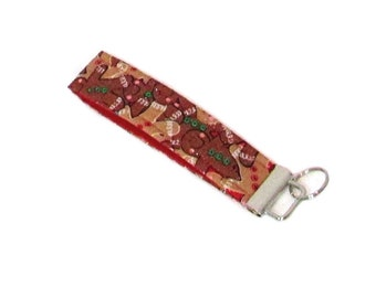 Gingerbread Man Key Fob, Christmas Key Chain, Brown Cloth Key Strap, Fabric Wrist Lanyard Key Holder, Stocking Stuffer