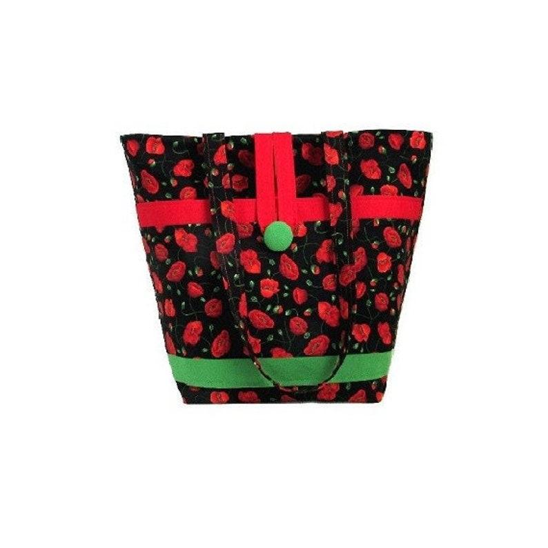 Poppy Flower Shoulder Bag Cloth Purse Fabric Bag Handmade image 0