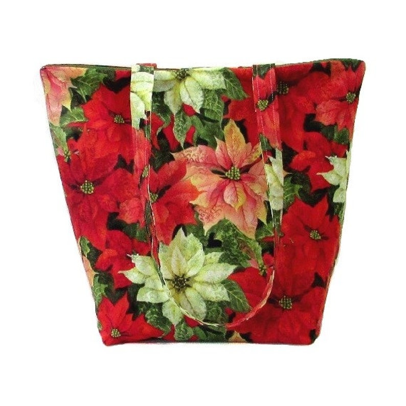 Poinsettia Shoulder Bag Christmas Tote Bag Cloth Purse image 0