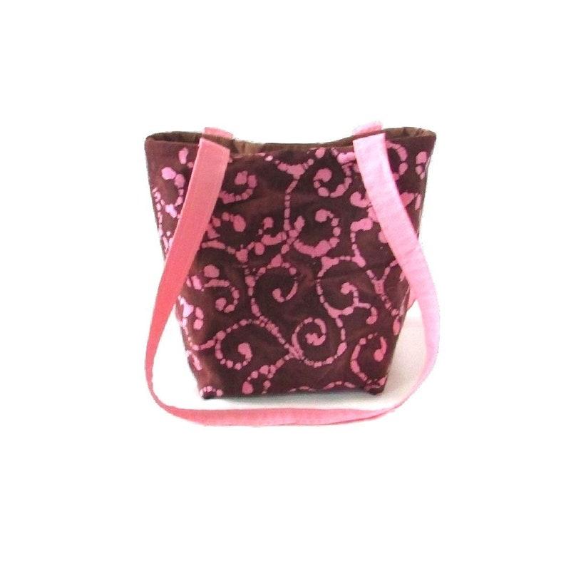 Brown Batik Purse Small Tote Bag Pink Batik Scroll Fabric image 0