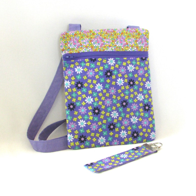 Purple Crossbody Bag Floral Handmade Purse Key Fob Purple image 0