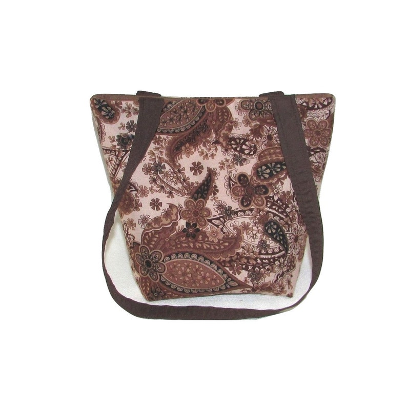 Brown Paisley Purse Small Fabric Bag Handmade Handbag Cloth image 0