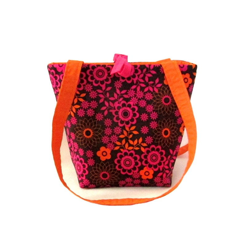 Floral Purse Small Tote Bag Brown Cloth Purse Fabric Bag image 0