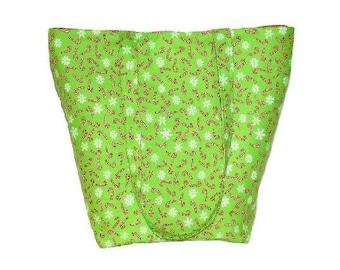 Holiday Shoulder Bag, Green Cloth Purse, Candy Canes, Snowflakes, Handmade Handbag, Holiday Purse, Winter Tote Bag