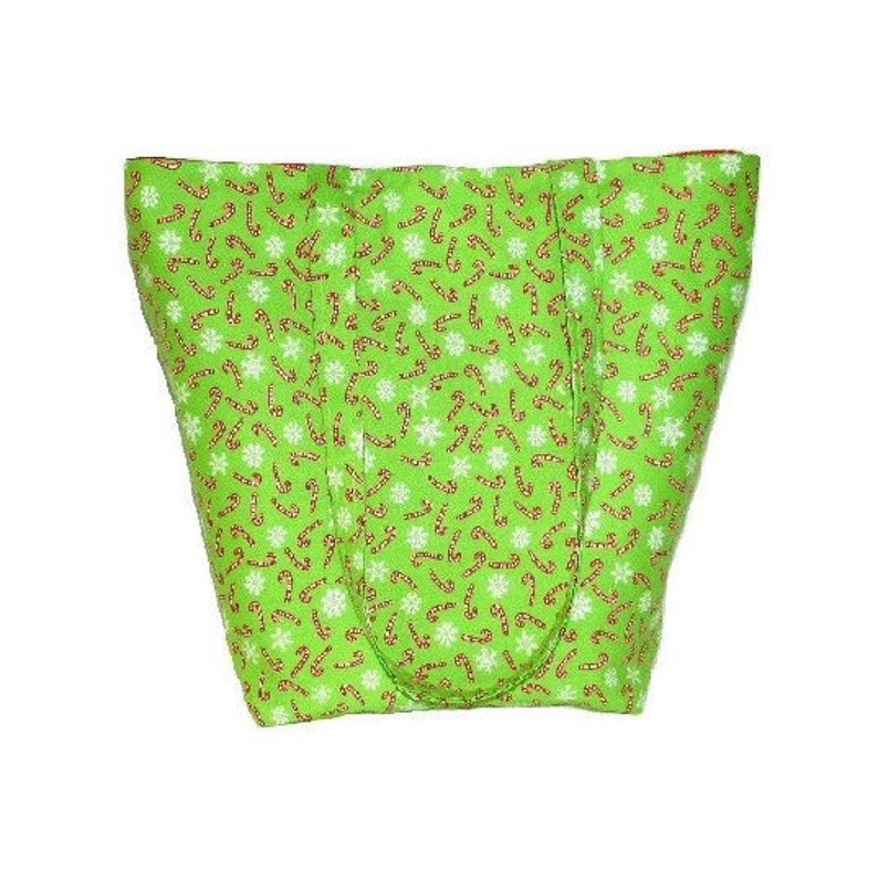Holiday Shoulder Bag Green Cloth Purse Candy Canes image 0
