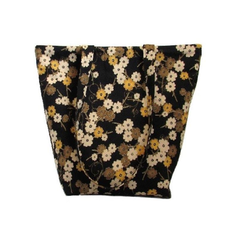 Floral Tote Bag Cloth Purse Black Brown Beige Gold image 0