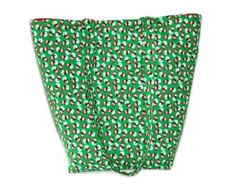 Snowman Shoulder Bag, Cloth Purse, Holiday Tote Bag, Winter, Christmas, Handmade Handbag, Holiday Purse, Green, Red, White