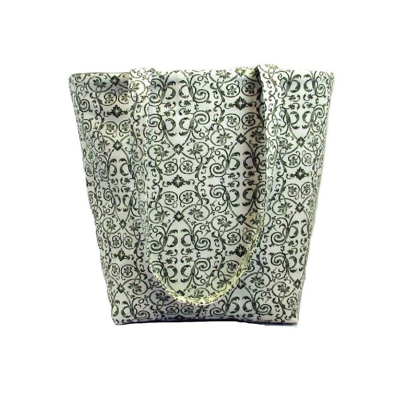 Floral Tote Bag Cloth Purse Green Flowers Leaves Scrolls image 0