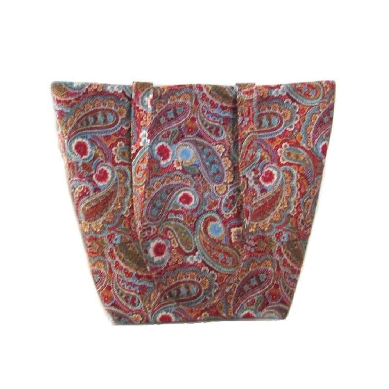 Paisley Shoulder Bag Handmade Cloth Purse Flowers Burgundy image 0