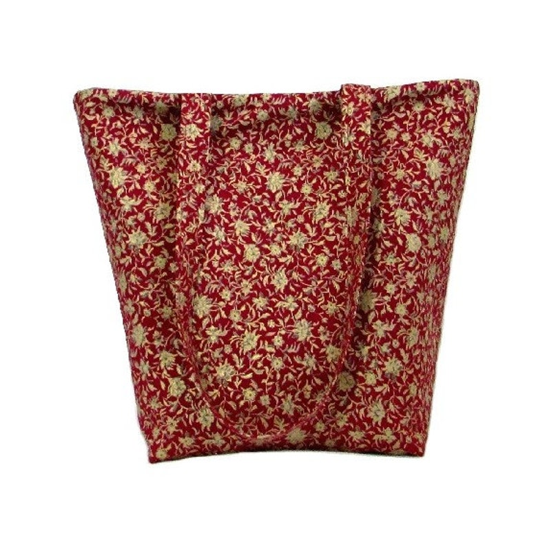 Red Floral Tote Bag Fabric Purse Gold Gray Flowers image 0