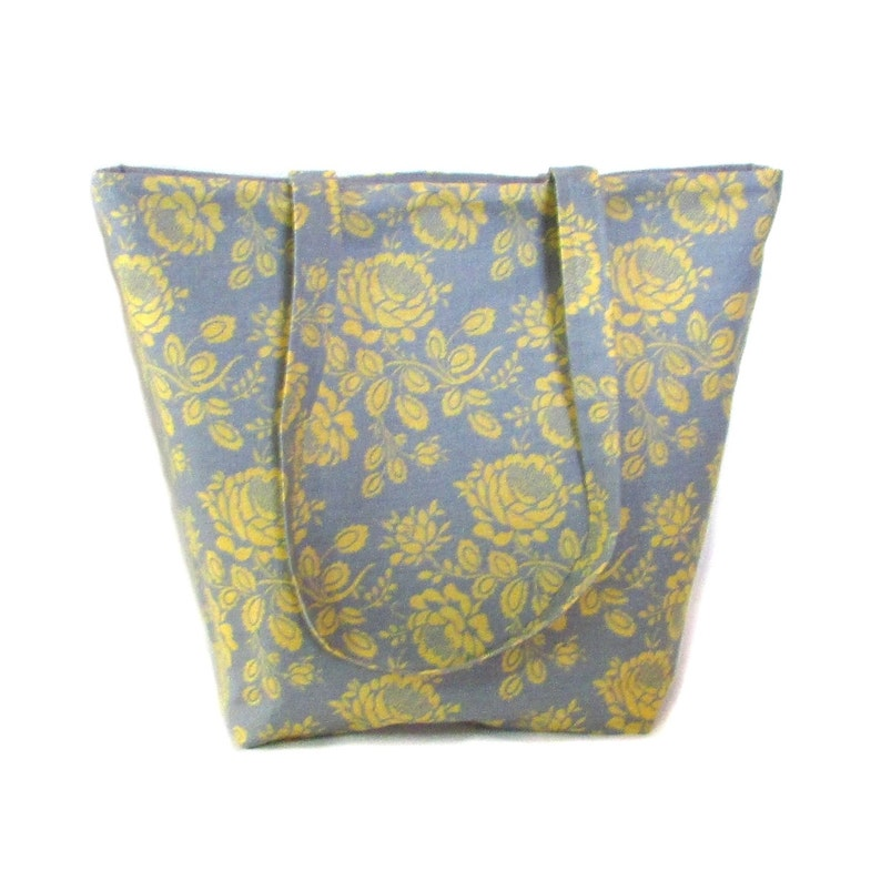 Gray Floral Shoulder Bag Yellow Flowers Cloth Purse Fabric image 0