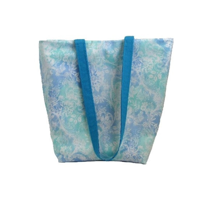 Blue Batik Tote Bag Shoulder Bag Handmade Handbag Fabric image 0