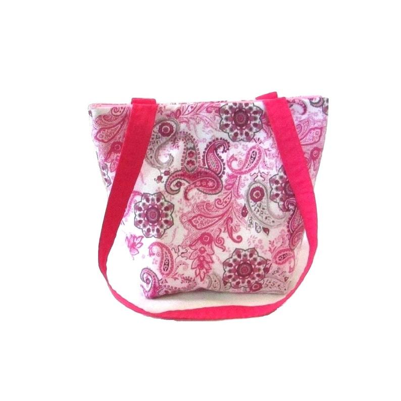 Paisley Purse Pink & Gray Bag Handmade Handbag Cloth Bag image 0