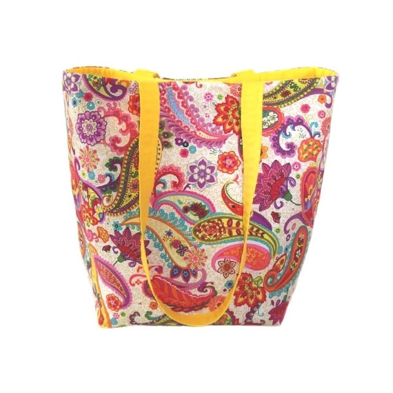 73fa7c707a81 Paisley Tote Bag Floral Cloth Purse Handmade Purse Yellow