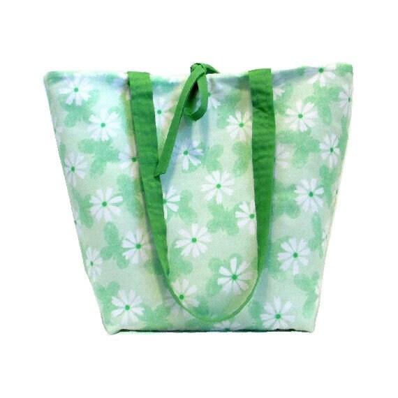 0db2421bc28f Butterfly Tote Bag Floral Purse Green Cloth Purse Handmade