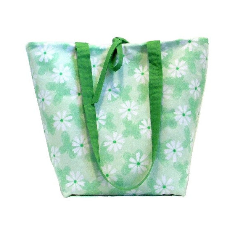 Butterfly Tote Bag  Green Cloth Purse with White Flowers image 0