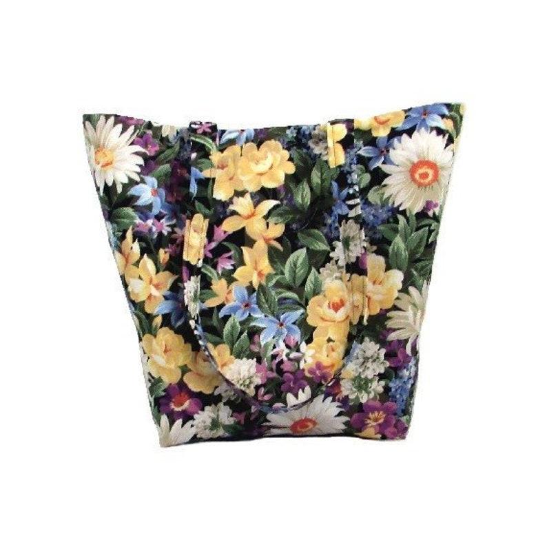 Floral Garden Tote Bag Cloth Purse Shoulder Bag Handmade image 0